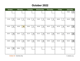 October 2022 Calendar with Day Numbers