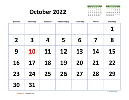 October 2022 Calendar with Extra-large Dates