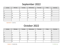 September and October 2022 Calendar