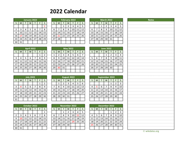 Yearly Printable 2022 Calendar with Notes
