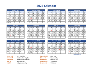PDF Calendar 2022 with Federal Holidays