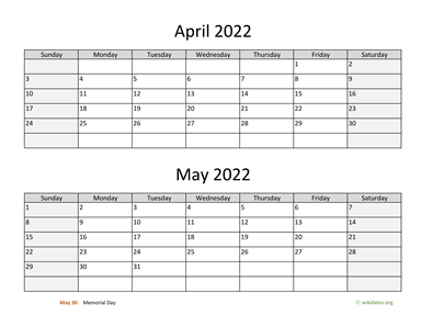 April and May 2022 Calendar Horizontal