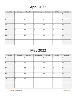 April and May 2022 Calendar Vertical