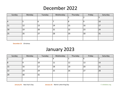 December 2022 and January 2023 Calendar Horizontal