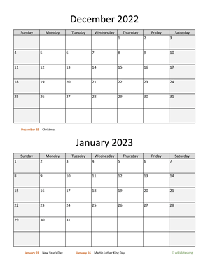 December 2022 and January 2023 Calendar Vertical