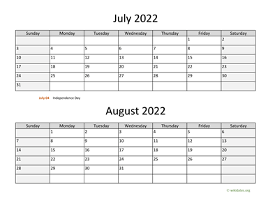 July and August 2022 Calendar Horizontal