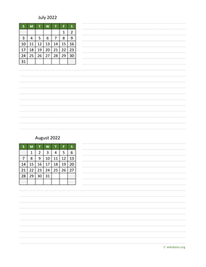 July and August 2022 Calendar with Notes