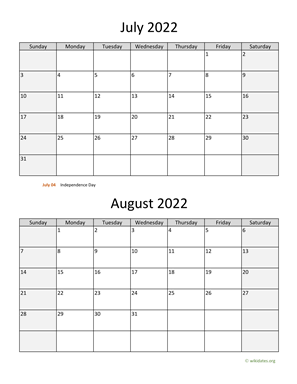 July and August 2022 Calendar Vertical