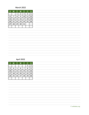 March and April 2022 Calendar with Notes