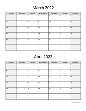 March and April 2022 Calendar Vertical
