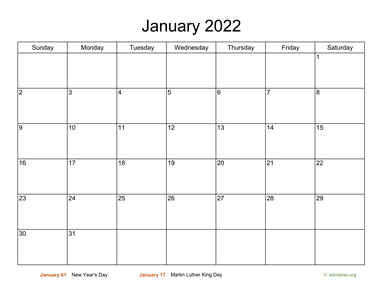 Monthly Basic Calendar for 2022
