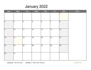 Monthly 2022 Calendar with Notes