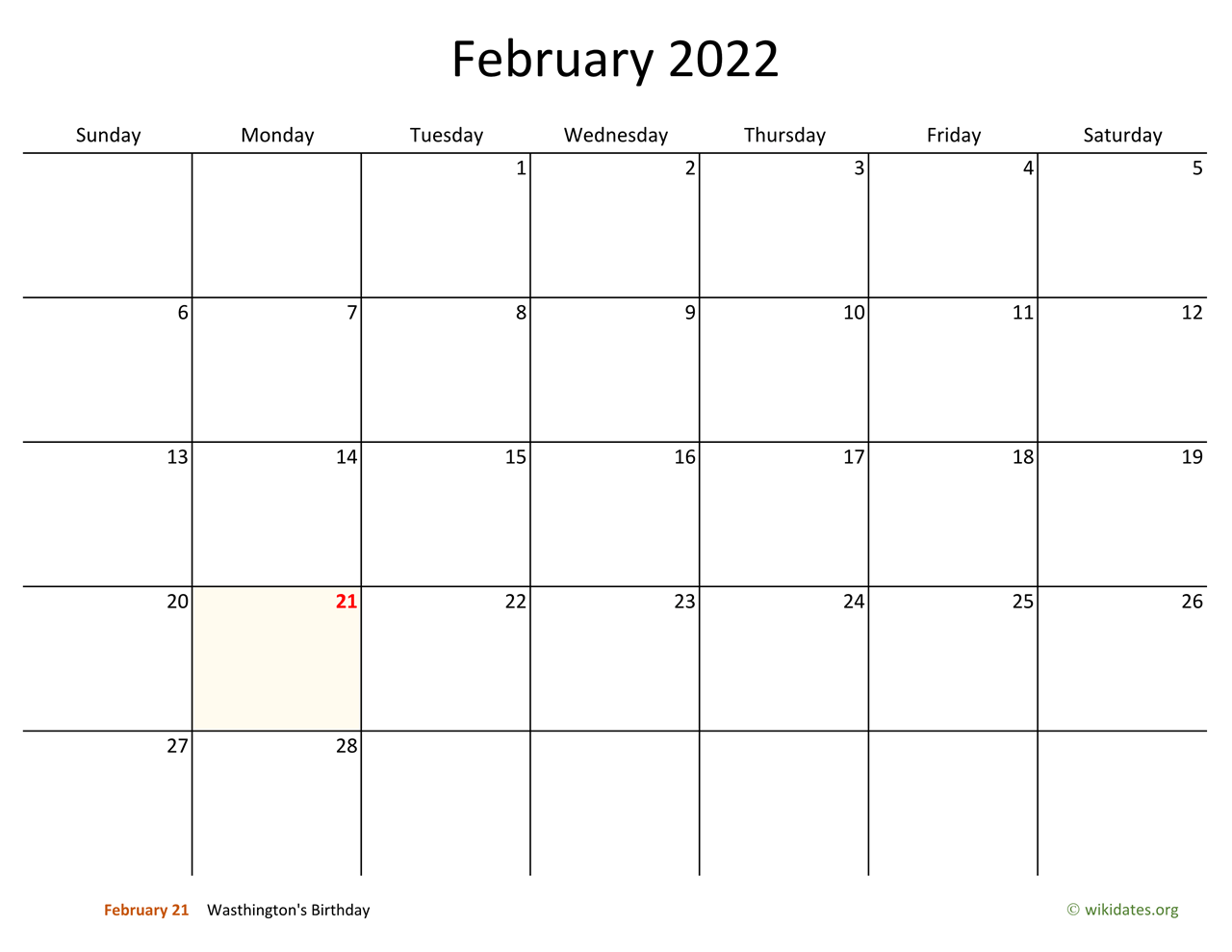 February 2022 Calendar With Bigger Boxes Wikidates Org