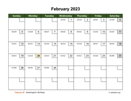February 2023 Calendar with Day Numbers