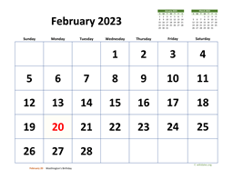 February 2023 Calendar with Extra-large Dates