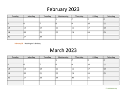 February and March 2023 Calendar