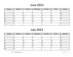 June and July 2023 Calendar