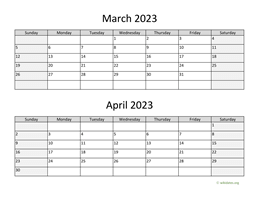 March and April 2023 Calendar