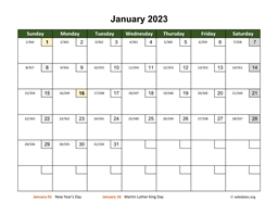 Monthly 2023 Calendar with Day Numbers