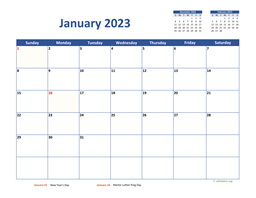 Monthly 2023 Calendar Classic
