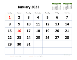Monthly 2023 Calendar with Extra-large Dates