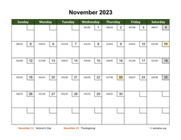 November 2023 Calendar with Day Numbers