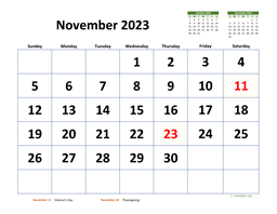 November 2023 Calendar with Extra-large Dates