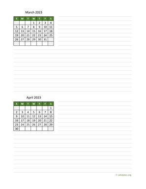 March and April 2023 Calendar with Notes