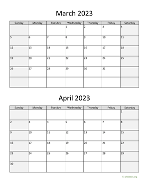 March and April 2023 Calendar Vertical