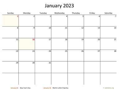 Monthly 2023 Calendar with Bigger boxes