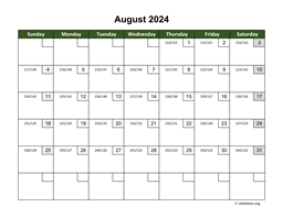 August 2024 Calendar with Day Numbers