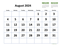 August 2024 Calendar with Extra-large Dates
