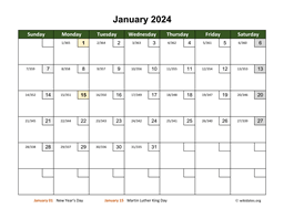 Monthly 2024 Calendar with Day Numbers