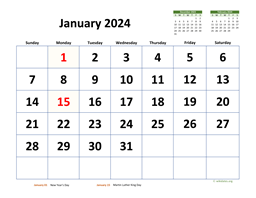 Monthly 2024 Calendar with Extra-large Dates
