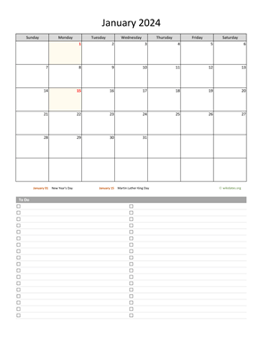 Monthly 2024 Calendar with To-Do List