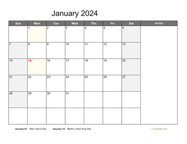 Monthly 2024 Calendar with Notes
