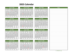 Yearly Printable 2025 Calendar with Notes