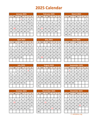 Full Year 2025 Calendar on one page