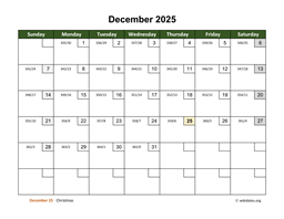 December 2025 Calendar with Day Numbers
