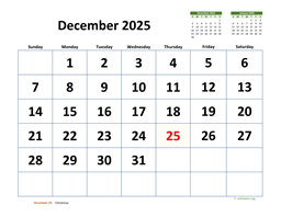 December 2025 Calendar with Extra-large Dates