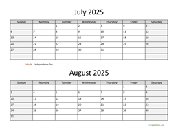 July and August 2025 Calendar