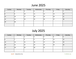 June and July 2025 Calendar