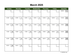 March 2025 Calendar with Day Numbers