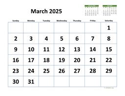 March 2025 Calendar with Extra-large Dates