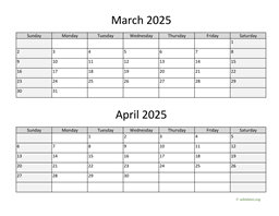 March and April 2025 Calendar