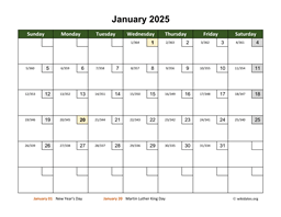 Monthly 2025 Calendar with Day Numbers