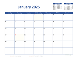 Monthly 2025 Calendar Classic