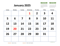 Monthly 2025 Calendar with Extra-large Dates