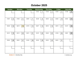 October 2025 Calendar with Day Numbers