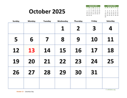 October 2025 Calendar with Extra-large Dates
